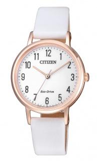 Citizen Armbanduhr | Eco-Drive Solarzelle | Lederband, weiß | roségoldfarben > EM0579-14A
