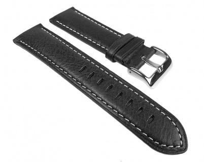 Vintage Look Uhrenarmband Leder Band Schwarz 25273S