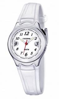 Calypso Armbanduhr Mädchenuhr Kinderuhr Analoguhr Weiß mit Licht 10ATM K6067/1