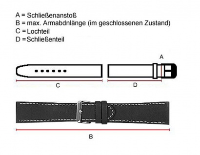 Minott Eidechs-Narbung Uhrenarmband Kalbsleder Band XL schwarz 23580G - Vorschau 2