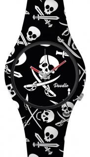 DOODLE WATCH Armbanduhr für SIE& IHN Ø 39mm Silikon Praten-Totenkopf DOSK002