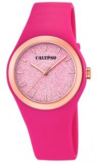 Calypso Damenuhr analog pink Kunststoff Armbanduhr Uhr PU-Band Quarzuhr K5755/5 K5755