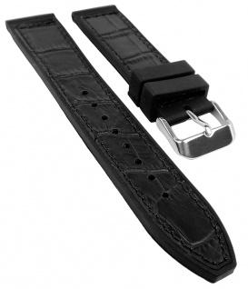 Herzog Uhrenarmband 20mm oder 22mm   Silikon/Leder-Mix, schwarz mit Naht 32236S