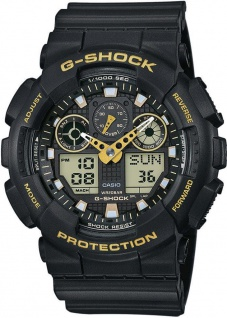 Casio G-Shock digitale Herrenuhr schwarz Resin Weltzeitfunktion GA-100GBX-1A9ER