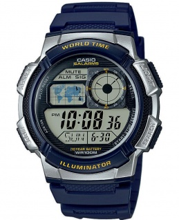 Casio Collection Herrenuhr Resin Uhr Digitaluhr blau silbern AE-1000W-2AVEF