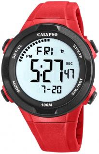 Calypso digitale Armbanduhr | Kunststoffgehäuse & Band > rot | Datum > Alarm K5780/5