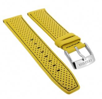Festina Chronograph Ersatzband 23mm aus Leder in gelb mit Lochmuster F20339 F20339/3