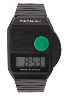 Sprechende Funk-Armbanduhr Marschall Quartz-Uhr Kunststoff | Digital für Blinde
