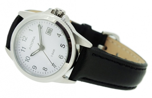 Damen Adora Armbanduhr | Lederband, schwarz | Edelstahlgehäuse | Datumsanzeige 37887