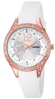 Calypso Damenarmbanduhr Quarzuhr Kunststoffuhr mit Polyurethanband und Glitzersteinchen analog K5660