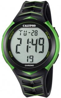 Calypso | Herrenarmbanduhr Quarzuhr Digitaluhr Kunststoffuhr mit 5 Alarmzeiten Stoppuhr schwarz/grün K5730/4
