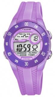 Calypso Kinderarmbanduhr Quarzuhr Digitaluhr Kunststoffuhr lila mit 2 Alarmzeiten Weltzeit Licht K5744/3