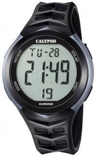 Calypso | Herrenarmbanduhr Quarzuhr Digitaluhr Kunststoffuhr mit 5 Alarmzeiten Stoppuhr schwarz/grau K5730/1