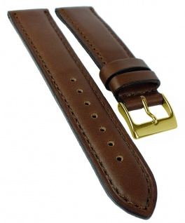 Herzog Neapel Ersatzband braun Uhrenarmband 22mm Leder Naht Band Dornschließe