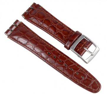 Minott Uhrenarmband Leder Band Braunrot passend zu Swatch Uhren 19mm 19940