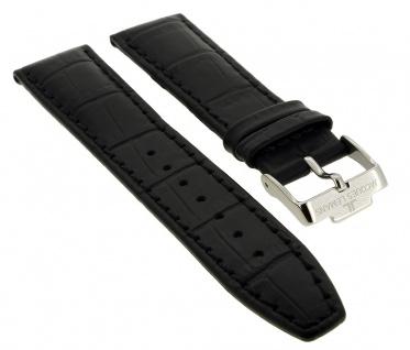 Jacques Lemans Uhrenarmband Ersatzband Leder mit Krokoprägung 20mm schwarz für 1-1845
