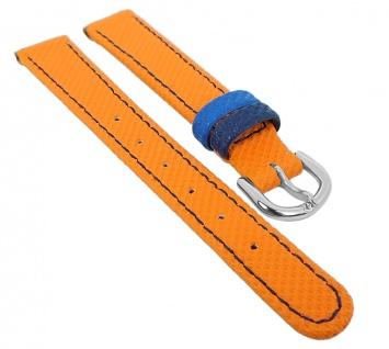 Minott Uhrenarmband Kunststoff/Leder Band Kinderband orange mit blauer Naht 29783