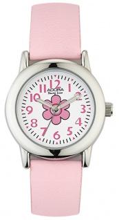 Adora Young Line analoge Quarz Armbanduhr aus Edelstahl mit rosa Kunststoffband