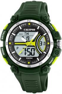 Calypso anadigi Herrenuhr   Kunststoffgehäuse & Band grün   Datum > Alarm K5779/4