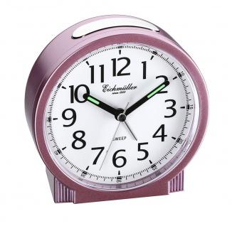 Wecker Reisewecker Alarm Analog Snooze Kunststoff rosa rund mit schleichende Sekunde