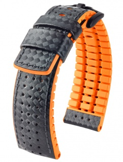HIRSCH Performance | Uhrenarmband aus Leder/Kautschuk schwarz/orange Carbonoptik 30950B