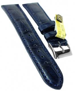 Herzog Kroko-Sport Ersatzband 20mm Uhrenarmband Leder blau Krokoleder Band IRV Zertifikat