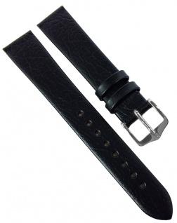 HIRSCH | Uhrenarmband > Leder, schwarz ohne Naht, genarbt > Dornschließe | Kurze-Länge | 36551
