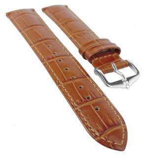 HIRSCH DUKE XL | Uhrenarmband italienisches Leder / Alligatorprägung / Goldbraun in Überlänge 31038