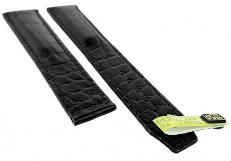 Maurice Lacroix Masterpiece Ersatzband Echt Louisiana Kroko Leder schwarz matt gepolstert 33163