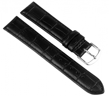 Uhrenarmband Leder Guinea Schwarz 20mm XL 20264S