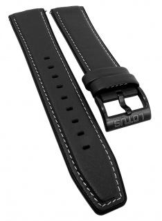 Lotus Ersatzband 22mm schwarz Leder/Kunststoff mit heller Kontrastnaht 50012/3