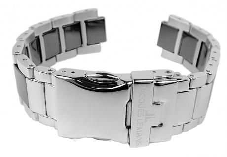 Jacques Lemans Uhrenarmband Edelstahl/Ceramic Band silbern/schwarz für Jubiläumsuhr 40-3 A