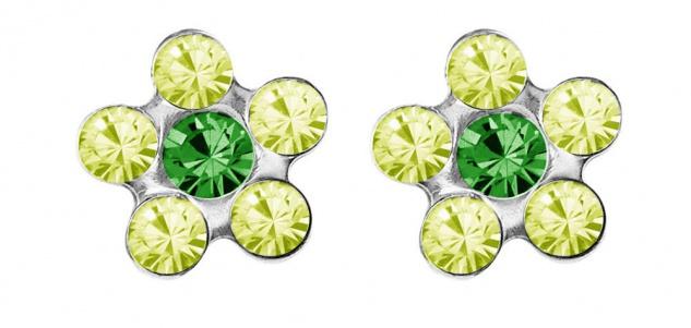 STUDEX Blume Erstohrstecker Ohrschmuck Ohrringe mit Steinimitation grün Edelstahl 100% Steril 34195