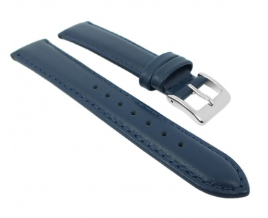 Herzog Uhrenarmband Seidenkalb Leder Band Blau 26707S