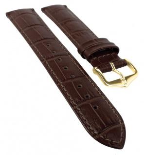 HIRSCH DUKE L | Uhrenarmband italienisches Leder / Alligatorprägung / Dunkelbraun 31025