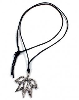 Minott Kette aus schwarzes Leder zum verknoten mit Canabis Anhänger 21475