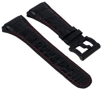 TW STEEL CEO Tech Ersatzband Leder Band schwarz in Kroko-Optik mit roter Naht für Ø 48mm Gehäuse 28664