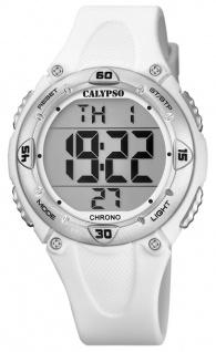 Calypso Kinderarmbanduhr Quarzuhr Digitaluhr Kunststoff weiß mit 2. Zeitzone Alarm Stoppfunktion K5741/1