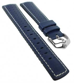 HIRSCH Performance | Uhrenarmband aus Leder/Kautschuk schwarz/blau perforiert 30964S
