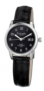 Eichmüller Damen Armbanduhr Krokooptik Ø 28 3ATM Datum schwarz Lederband