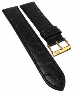 Hugo Boss Ersatzband Leder Kroko-Optik schwarz Ton-in-Ton-Naht 22mm 1513179
