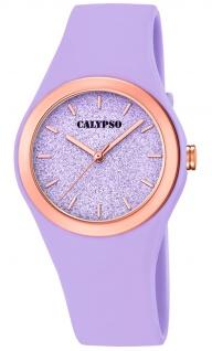 Calypso Damenuhr analog lila Kunststoff Armbanduhr Uhr PU-Band Quarzuhr K5755/2 K5755
