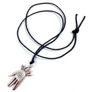 Minott Kette aus schwarzes Lederband zum verknoten mit Hand Anhänger 21508