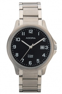 Adora Herren Armbanduhr Analog Ø 37mm Quarz 10 BAR Titanband Datum