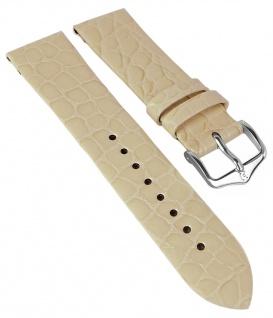 HIRSCH | Uhrenarmband > Leder, beige mit Krokoprägung > Dornschließe | Kurze-Länge | 36417