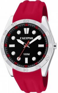 Calypso Herren analog rot Kunststoff Armbanduhr PU-Band Quarzuhr K5763/5 K5763
