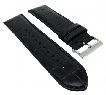 Hugo Boss Ersatzband 24mm Krokoprägung Leder schwarz Ton in Ton Naht 1513480
