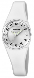 Calypso | Damenarmbanduhr Quarzuhr Kunststoffuhr mit Kunststoffband weiß analog K5726/1