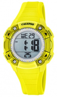 Calypso Damenarmbanduhr Quarzuhr Digitaluhr Kunststoffuhr mit Alarm Stoppfunktion gelb K5728/1
