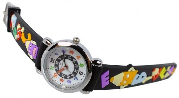 Alpha Saphir Kinder schwarz Armbanduhr Edelstahl Quarz Kunststoffband 394A
